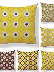 abordables -6 PC Textil / Algodón / Lino Funda de almohada, A Lunares / Estampado / Novedad Simple / Cuadrado