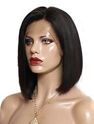 Недорогие -Remy Полностью ленточные Парик Бразильские волосы Прямой Парик Короткий Боб Боковая часть 130% Плотность волос Природные волосы С отбеленными узлами Жен. Короткие