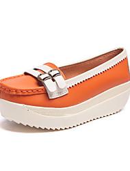 cheap -Women's Shoes Cowhide Summer Comfort Heels Wedge Heel Orange / Light Yellow / Blue