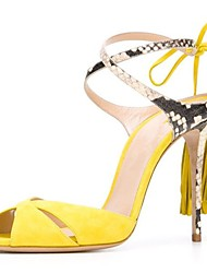 preiswerte -Damen Schuhe Beflockung Sommer Pumps Sandalen Stöckelabsatz Runde Zehe Quaste für Party & Festivität Schwarz / Gelb / Blau