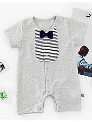 cheap -Baby Unisex Striped Color Block Short Sleeve Romper
