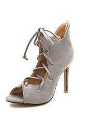 cheap -Women's Shoes Fleece Summer Comfort Sandals Stiletto Heel Peep Toe Black / Light Grey / Blue / Party & Evening / Lace up