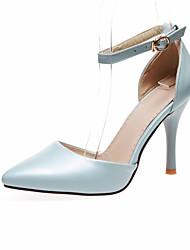 baratos -Mulheres Sapatos Couro Ecológico Primavera Verão Plataforma Básica Saltos Salto Agulha Dedo Apontado Presilha para Ao ar livre Bege /