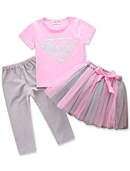 cheap -Toddler Girls' Solid Colored / Color Block Short Sleeve Clothing Set