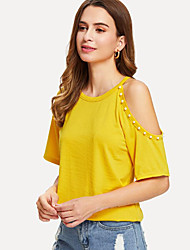cheap -Women's T-shirt - Solid Colored Beaded