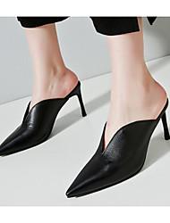 preiswerte -Damen Schuhe Leder Frühling Herbst Pumps Komfort Cloggs & Pantoletten Stöckelabsatz für Schwarz Beige