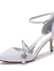 cheap -Women's Shoes Lace / Satin Spring Comfort Wedding Shoes Cone Heel Pointed Toe Rhinestone / Bowknot / Sparkling Glitter White / Ivory
