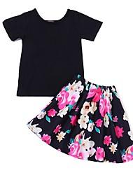 Недорогие -Дети / Дети (1-4 лет) Девочки Активный С принтом С короткими рукавами Хлопок / Полиэстер Набор одежды Черный
