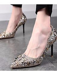 preiswerte -Damen Schuhe PU Herbst Komfort / Pumps High Heels Stöckelabsatz Gold / Schwarz / Silber