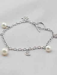 cheap -Women's Pearl / Freshwater Pearl Chain Bracelet - Pearl, Sterling Silver, Freshwater Pearl Moon, Star Simple, Sweet, Fashion Bracelet Silver For Gift / Daily