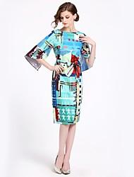 Недорогие -Жен. Классический Уличный стиль С летящей юбкой Платье - Цветочный принт Средней длины