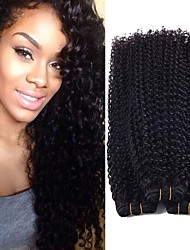 cheap -4 Bundles Peruvian Hair Kinky Curly Virgin Human Hair Natural Color Hair Weaves / Extension / Human Hair Extensions 8-28 inch Human Hair Weaves Soft / Hot Sale / 100% Virgin Natural Color Human Hair