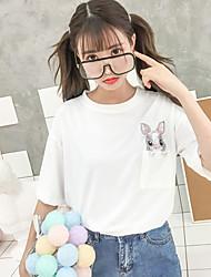 billige -Dame - Ensfarvet / Dyr Broderi Basale T-shirt