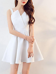 cheap -women's going out little black dress high waist asymmetrical one shoulder