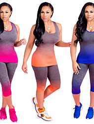 baratos -Mulheres Terno de Yoga - Laranja, Fúcsia, Azul Esportes Cores Gradiente Corrida, Fitness, Ginásio Sem Manga Tamanhos Grandes Roupas Esportivas Design Anatômico, Respirável Com Stretch