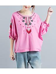 economico -T-shirt Per donna Per uscire Essenziale Sleeve Lantern Collage / Con ricami, Tinta unita / Monocolore Cotone