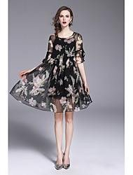 cheap -Women's Chinoiserie Swing Dress Mesh / Print