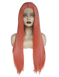 billige -Syntetisk Lace Front Parykker Lige Frisure i lag / Mellemdel Syntetisk hår Blød / Varme resistent / Dame Rød Paryk Dame Lang Blonde Front