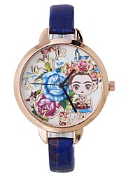 cheap -Xu™ Women's Dress Watch Wrist Watch Quartz Creative Casual Watch Lovely PU Band Analog Flower Fashion Black / Blue / Red - Red Blue Dark Red One Year Battery Life / Large Dial