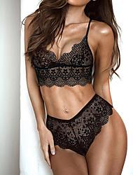 baratos -Mulheres Tamanhos Grandes Sexy Conjunto Completo Roupa de Noite - Renda Sólido