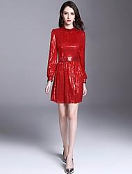 baratos -Mulheres Básico / Moda de Rua Evasê Vestido - Paetês, Sólido Acima do Joelho