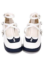 cheap -Lolita Shoes Sweet Lolita Dress / Sailor Lolita Dress Princess Lolita Creepers Shoes Lolita 3 cm CM White / Ink Blue For PU(Polyurethane)