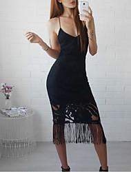 abordables -Femme Sophistiqué Trapèze Robe - Glands / Brodée, Couleur Pleine Midi