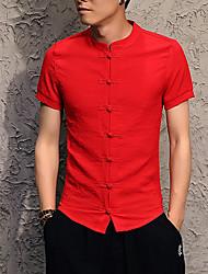 Недорогие -Муж. Рубашка Лён Однотонный / С короткими рукавами