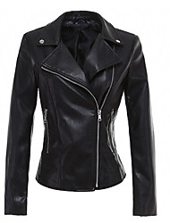 cheap -Women's Street chic Leather Jacket - Solid Colored, Rivet