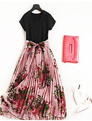Недорогие -Жен. Классический / Шинуазери (китайский стиль) Футболка / С летящей юбкой / Из двух частей Платье - Однотонный / Цветочный принт,