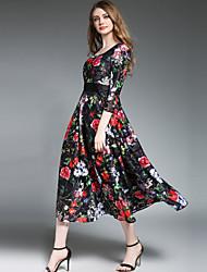 baratos -Mulheres Boho / Moda de Rua balanço Vestido - Renda / Estampado, Floral Longo