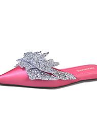 Недорогие -Жен. Обувь Полиуретан Лето Удобная обувь Башмаки и босоножки Для прогулок На плоской подошве Заостренный носок Лак Черный / Пурпурный