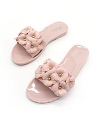 Недорогие -Жен. Обувь ПВХ Лето Удобная обувь Тапочки и Шлепанцы На плоской подошве Открытый мыс Цветы из сатина Черный / Розовый