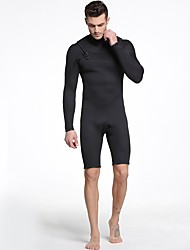 cheap -Men's Shorty Wetsuit 3mm SCR Neoprene Diving Suit Anatomic Design, Stretchy Long Sleeve Back Zip Solid Colored Autumn / Fall / Spring / Summer