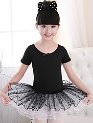 cheap -Ballet Dresses Girls' Training / Performance Cotton Satin Bow / Lace Short Sleeve Natural Dress