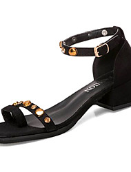 お買い得  -女性用 靴 PUレザー 春夏 アンクルストラップ サンダル ローヒール ベックル ブラック / パープル