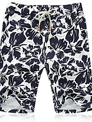 cheap -Men's Plus Size Cotton Slim Shorts Pants - Floral / Please choose one size larger according to your normal size. / Beach