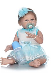 baratos -NPKCOLLECTION Bonecas Reborn Bebês Meninas 22 polegada Silicone de corpo inteiro / Vinil - Olhos Castanhos de Implantação Artificial de Criança Para Meninas Dom