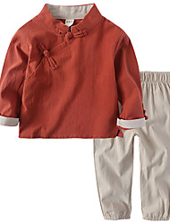 cheap -Kids Unisex Vintage / Chinoiserie Going out Solid Colored Long Sleeve Cotton / Linen Clothing Set