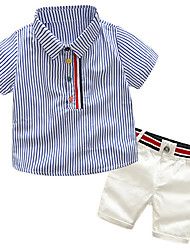 cheap -Toddler Boys' Active / Basic School Striped / Color Block / Patchwork Patchwork / Print Short Sleeve Cotton Clothing Set