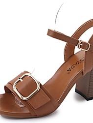 economico -Per donna Scarpe PU (Poliuretano) Estate Con cinghia / Cinturino alla caviglia Sandali Quadrato Punta tonda Fibbia Nero / Beige / Marrone