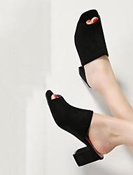 abordables -Mujer Zapatos Ante Primavera verano Talón Descubierto Sandalias Tacón Cuadrado Punta abierta Negro / Beige / Rosa