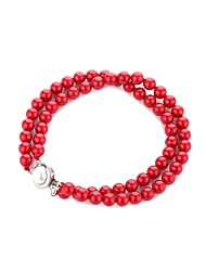 cheap -Women's Pearl Thick Chain Strand Bracelet - Casual / Sporty, Gothic, Fashion Bracelet Red For Graduation / Festival