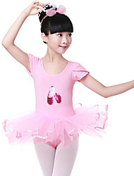 cheap -Ballet Dresses Girls' Training / Performance Cotton Lace / Pattern / Print / Paillette Short Sleeve Natural Dress
