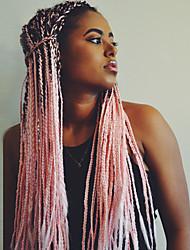 Недорогие -Парики из искусственных волос Косые оплетки Kardashian Стиль тесьма Без шапочки-основы Парик Розовый Черный / розовый Искусственные волосы 24 дюймовый Жен. / Волосы с окрашиванием омбре / Омбре