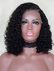 billiga -Remy-hår Spetsfront Peruk Brasilianskt hår Lockigt Peruk Bob-frisyr 130% Hårtäthet med babyhår Naturlig hårlinje Afro-amerikansk peruk obearbetade Blekt knutar Dam Korta Äkta peruker med hätta EVA