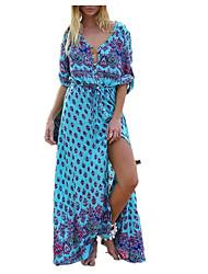 preiswerte -Damen Lose Swing Kleid Maxi V-Ausschnitt