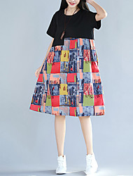 cheap -Women's Vintage Puff Sleeve Tunic Dress - Solid Colored / Geometric Blue & White, Tassel