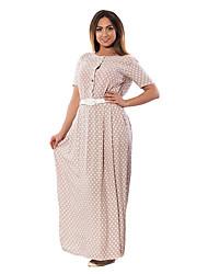 cheap -Women's Boho Puff Sleeve Tunic Dress - Polka Dot Lace up Maxi
