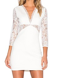 cheap -Women's Basic / Street chic Bodycon Dress - Solid Colored Lace / Cut Out / Patchwork